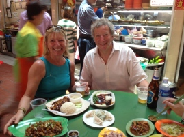 Fi and Richard in Maxwell Hawker Centre for lunch