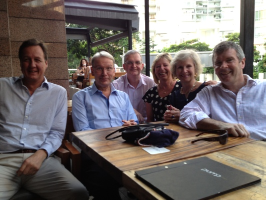 Sing: Cambridge reunion l-r Simon Rigby, Tubby Shenfield, MArk Greaves, Fi, me, Ross