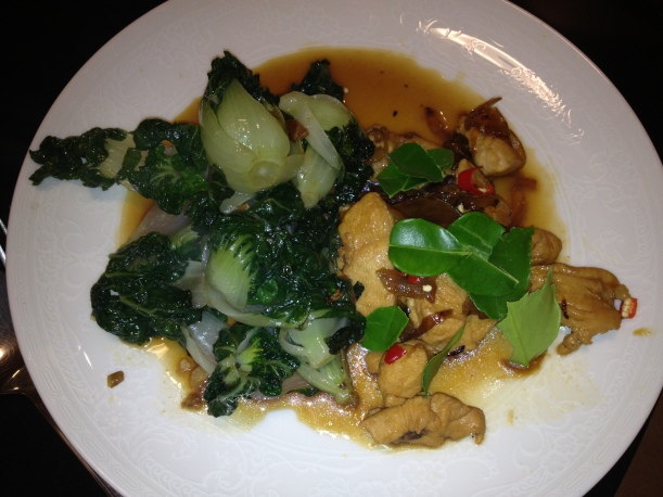 Sri Owne's Khmer chicken cooked on BBQ with baby pak choi