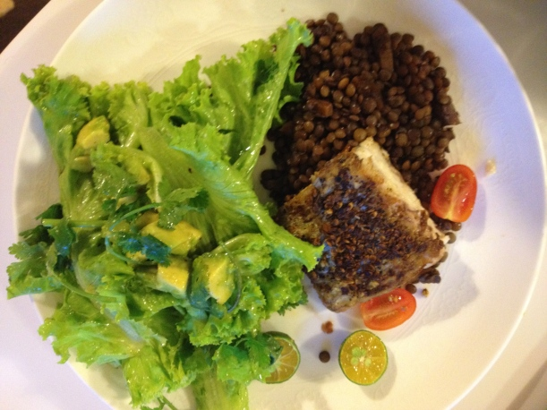 Blackened snapper with confit lentils and green salad