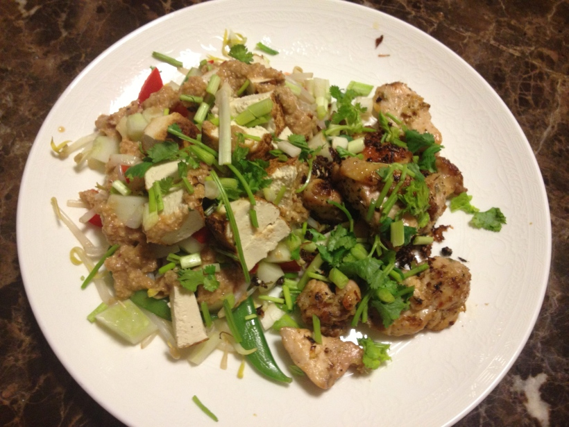 Isaan-style grill chicken (kai yaan) and Nonya style bean curd salad