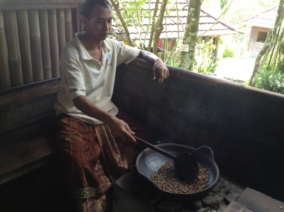 roasting Luwak (civet) coffee