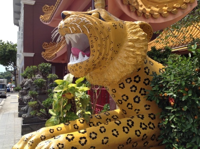 Lovely leopard (?) outside a Buddhist temple in Little India
