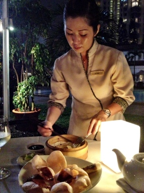 Peking duck - hand-rolled pancakes, thank you - using only crispy skin.