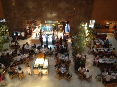 the Sheraton buffet area where people queue for tea