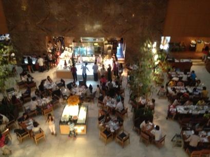 the Sheraton buffet area where people queue for tea