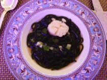 Scallop with seaweed noodles