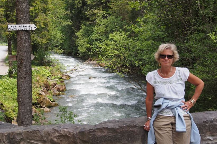 Walking by the gushing mountain streams
