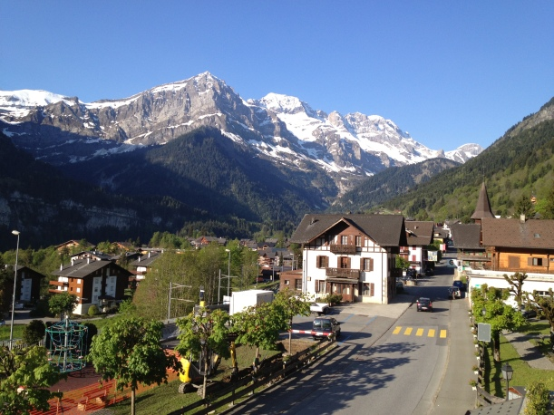 Champery High st, with the Dents Blanches in the background