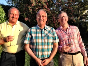 Boys will be boys -Ross with two of his Swiss chums, host Tim (centre) and Peter