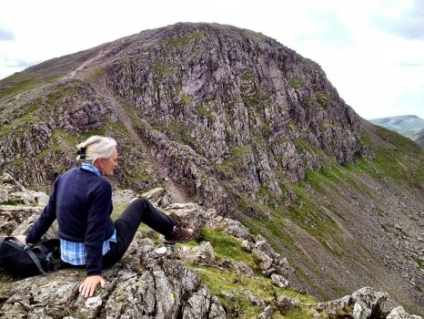 Hilary atop Green Gable looking across to Great Gable