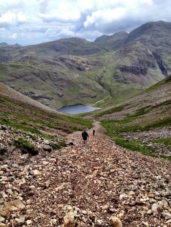 Steep descent via Aaron's Slack  to Styehead Tarn- now a much better path than in the 1980s