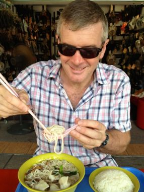 Ross enjoying a noodle soup at local Food COurt on Saturday