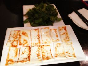 grilled goats cheese; mint salad