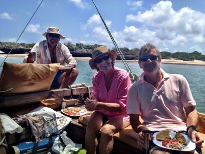 Diego, Christine and ROss on the machua