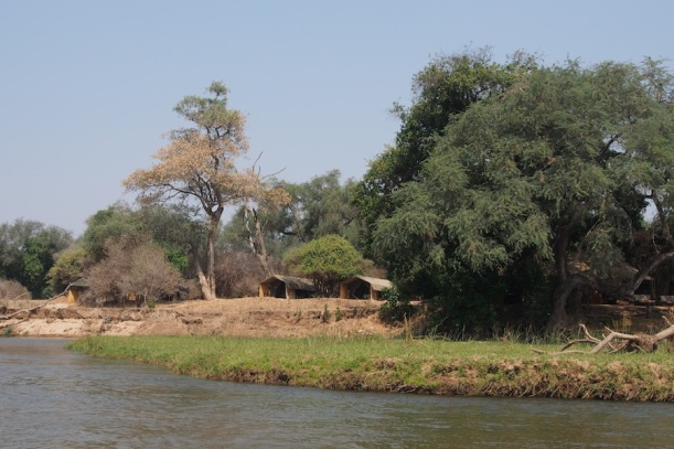 The camp as seen form the Zambezi - discreet...