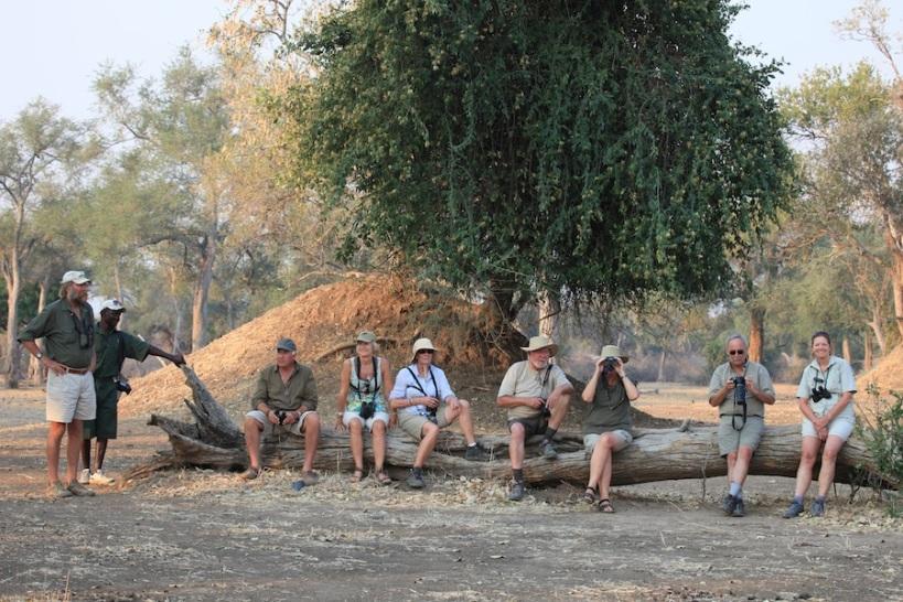 Stretch looking with disdain at his 'football team'; l-r - Reuben, Rick, me, Christine, Nick, Diane, Tim, Annie