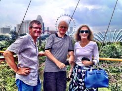 Sing: R with JB and Clare on the walkway between the Supertrees