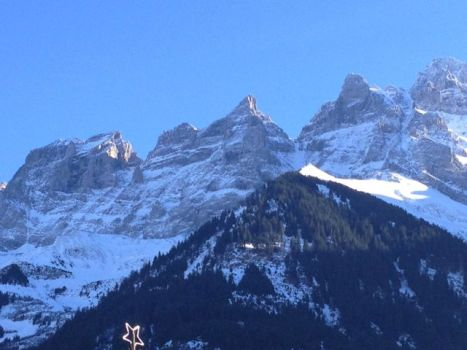 The Dents du Midi on the day we arrive - glorious!