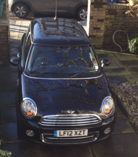 The metallic black mini Cooper 1.6