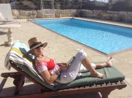 Chilling by the pool in Cyprus