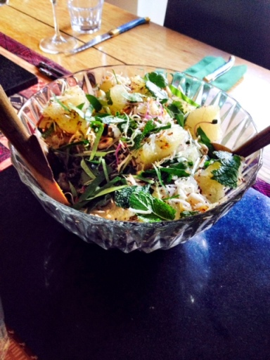 Pomelo salad, with coconut shavings and peanuts