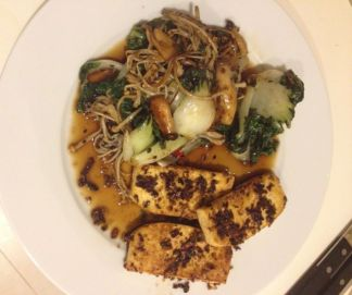 5 spice tofu with  vermicelli noodles & baby pak choi