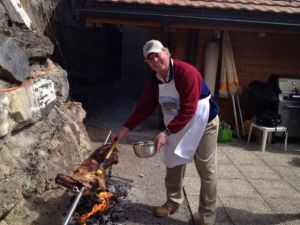 Peter the chef! with the lamb on the spit