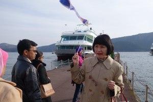 Atsuko with her auspicious carp flag - a boy good luck emblem apparently