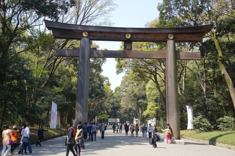 Entrance to the Meiji shrine, built in honour of the first Emperor of a unified Japan,at the end of the 19 century