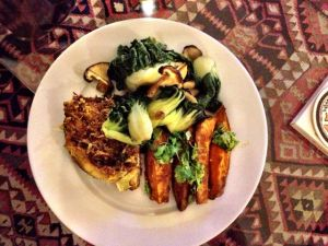 Baked mackerel with a lemongrass, turmeric, ginger and chilli marinade, coriander baked sweet potato and baby pak choi