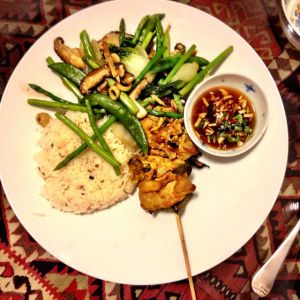 Grilled lime-leaf covered Chicken kebabs, spiced basmati and ginger, lemongrass steamed asparagus, pak choi, sugar snaps and shitake finished w oyster sauce - and eaten to last episode of Series 4 Breaking bad. Badass!