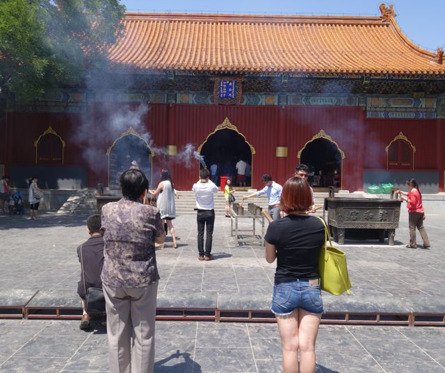Offering incense at the Lama temple