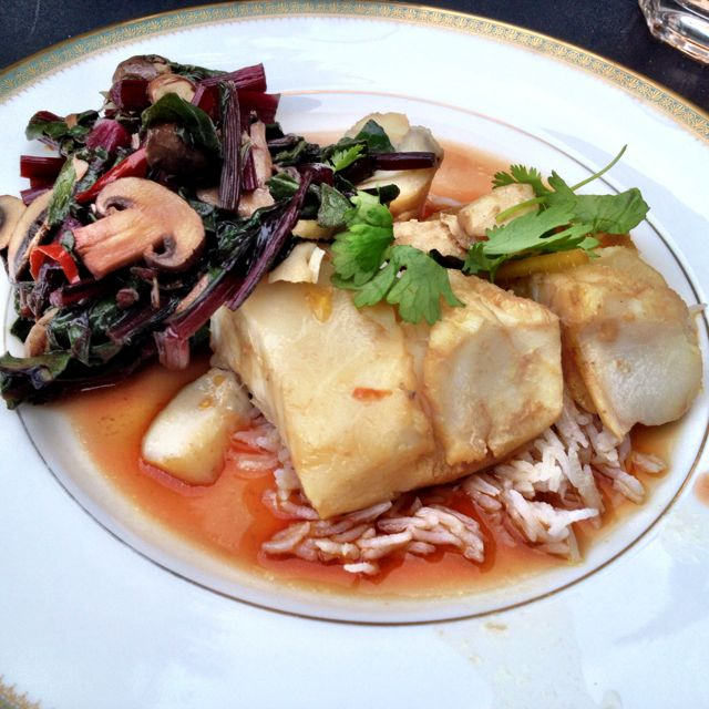 First meal cooked back in London: poached fish, Cantonese style  with steamed beetroot tops and ginger: