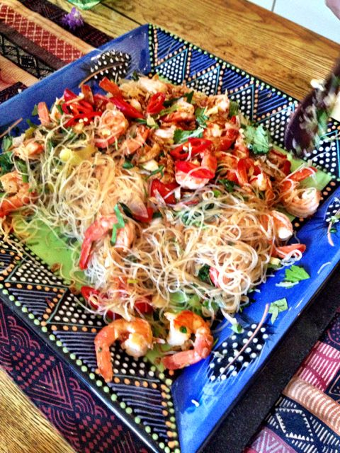 Shrimp glass noodle salad, Guests couldn't wait for me to photo!