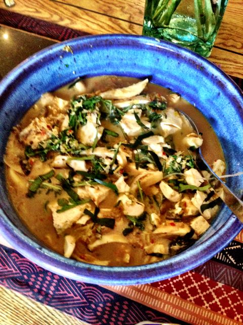 Tofu, oyster mushroom red curry
