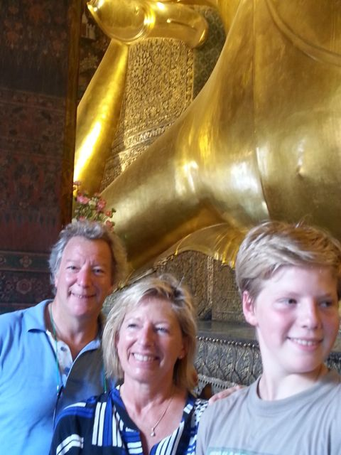 Richard, FI and Hugo and  the reclining Buddha