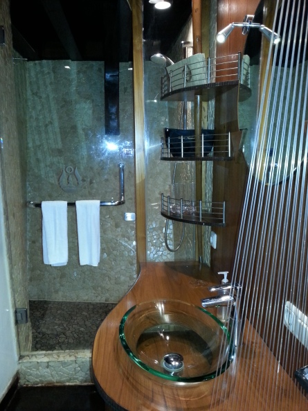 The bathroom....note designer glass sink