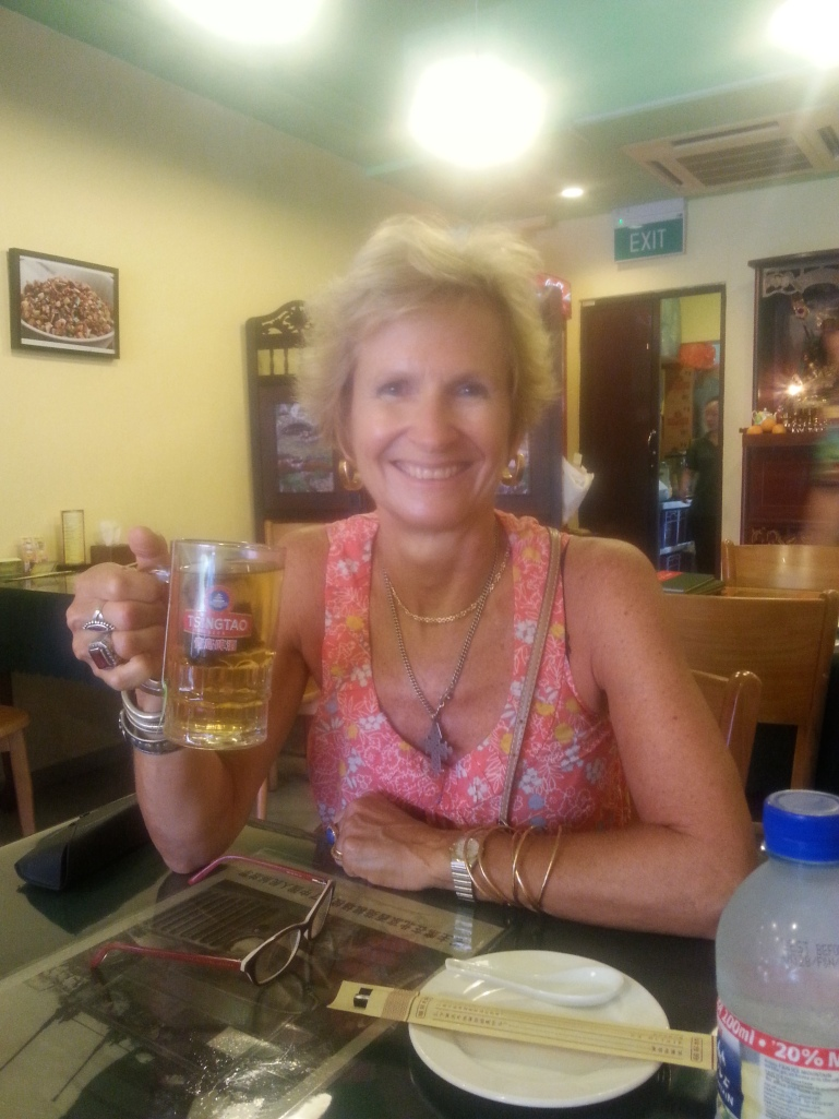 My birthday lunchtime drink - green tea in a beer mug!