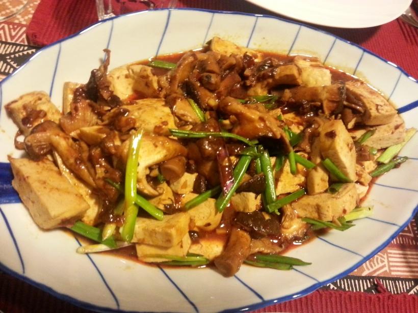 Ma po tofu and shnitake mushrooms, very hot, but delicious alhtough I say it myself!