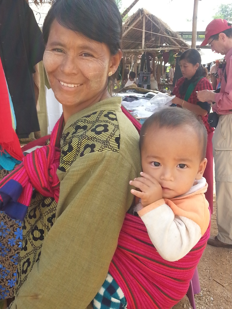 Pao woman and baby at Inthein weekly market, Inle Lake