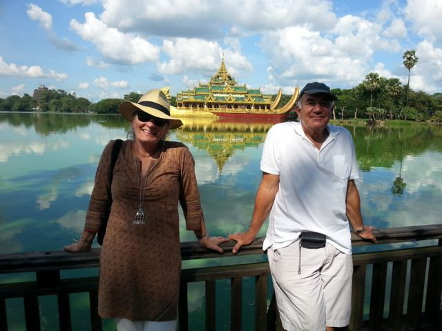 Hilary and Rick pose in front of the fake pagoda restaurant