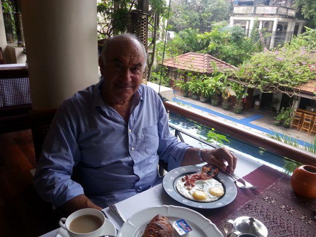 Rick enjoying breakfast at the Savoy