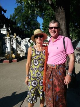 Mandalay: Ross had to wear a longyi to visit the pagodas