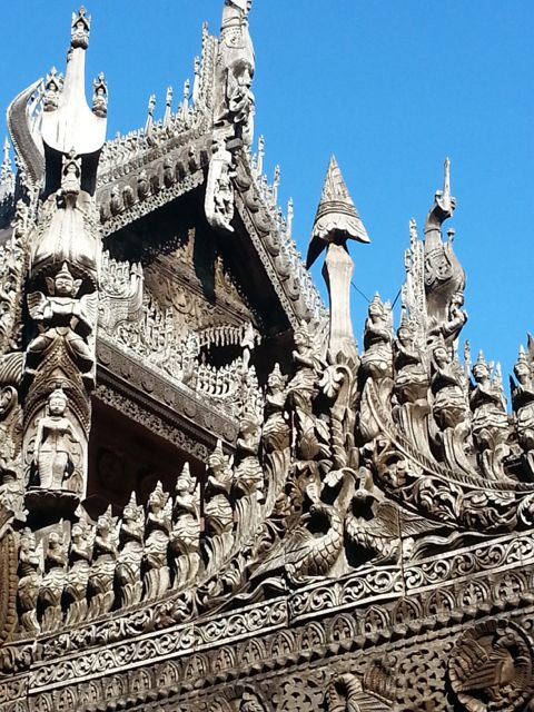 The fine old teak carvings are still intact
