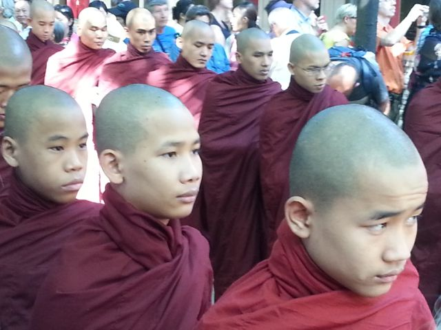 Monks lining up for lunch