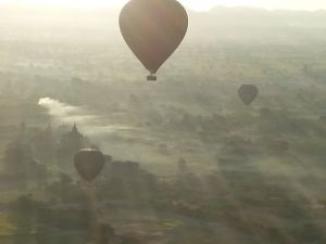Bagan:Early morning mist rising from the paddy fields