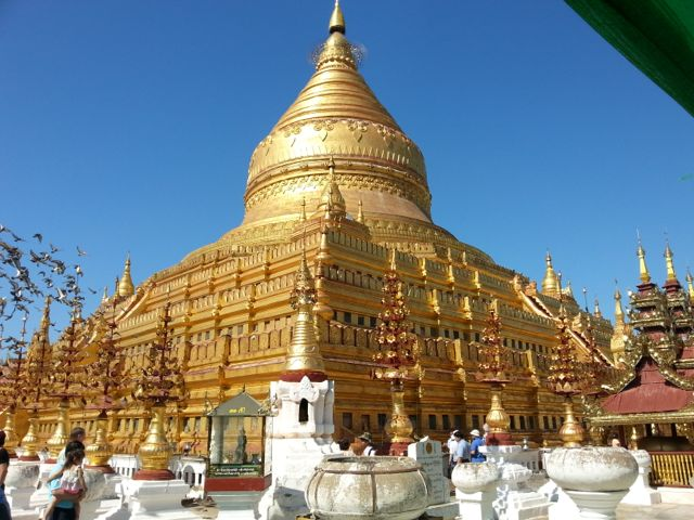 Shwezigon Pagoda, dating from 1089, but much restored obviously. We were there during its annual festival