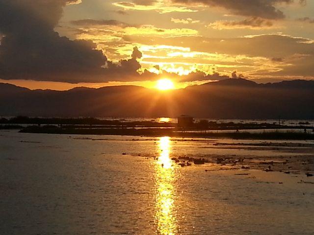 Sunset from Inle Lake Resort balcony