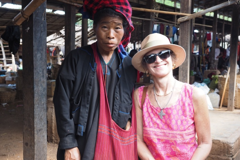 Posing with a local lady - she demanded a dollar after!
